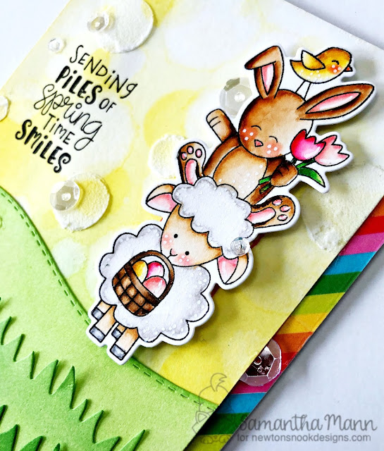 Piles of Spring Time Smiles Card by Samantha Mann, Newton's Nook Designs, handmade card, stamps, distress inks, Zig Clean Color Real Brush Markers, easter, #newtonsnook