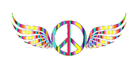 winged peace symbol in rainbow colours