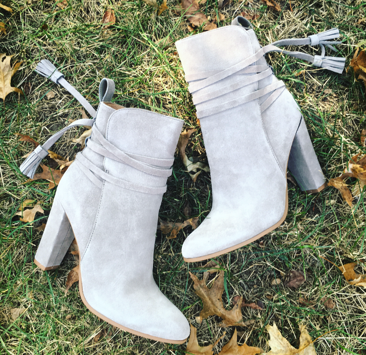 Steve Madden Glorria Suede Grey Booties
