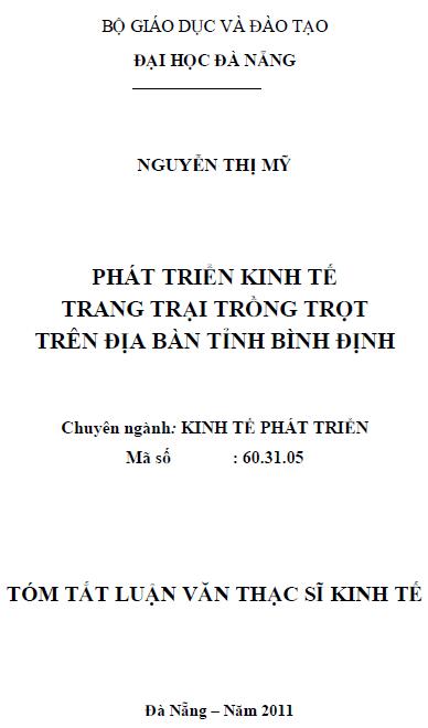 Phát triển kinh tế trang trại trồng trọt trên địa bàn tỉnh Bình Định