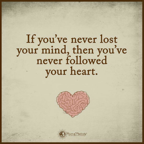 Follow Heart Or Mind Quotes: If You Have Never Lost Your Mind, Then You Have Never