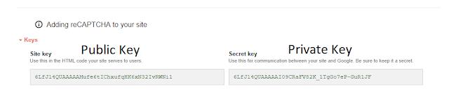 Google reCaptcha Site key & Secret key