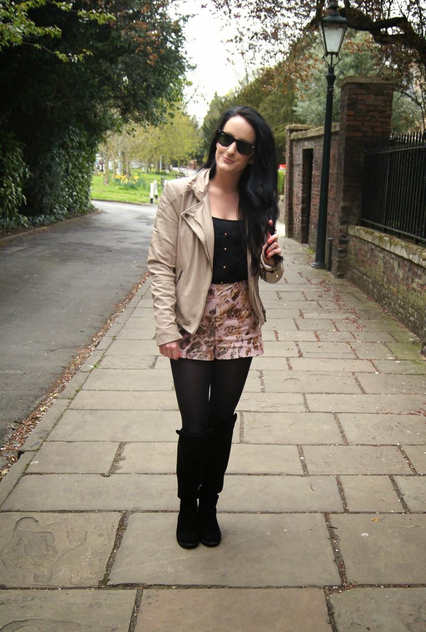 spring ootd muubaa blush leather biker jacket