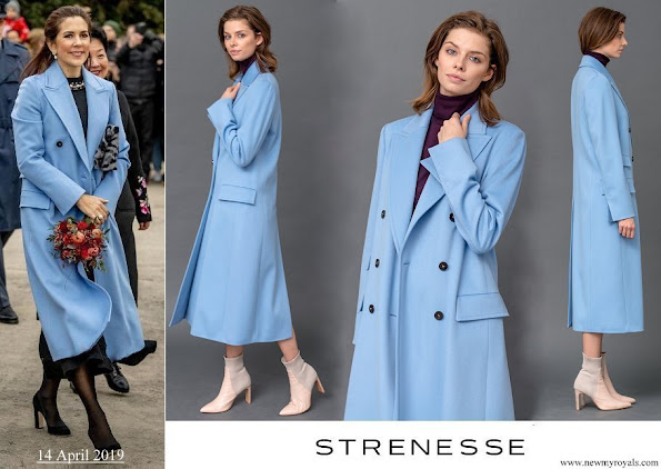 Crown Princess Mary wore STRENESSE wool coat in Loro Piana