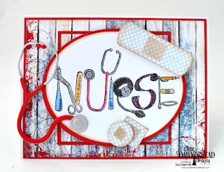 Our Daily Bread Designs Stamp Set: Nurse Tools, Custom Dies: Pierced Ovals, Ovals, Pierced Rectangles, Pierced Squares, Squares, Bandages, Stethoscope, Paper Collection: Patriotic