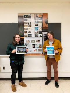 students at UMASS Dartmouth with the curated fridge