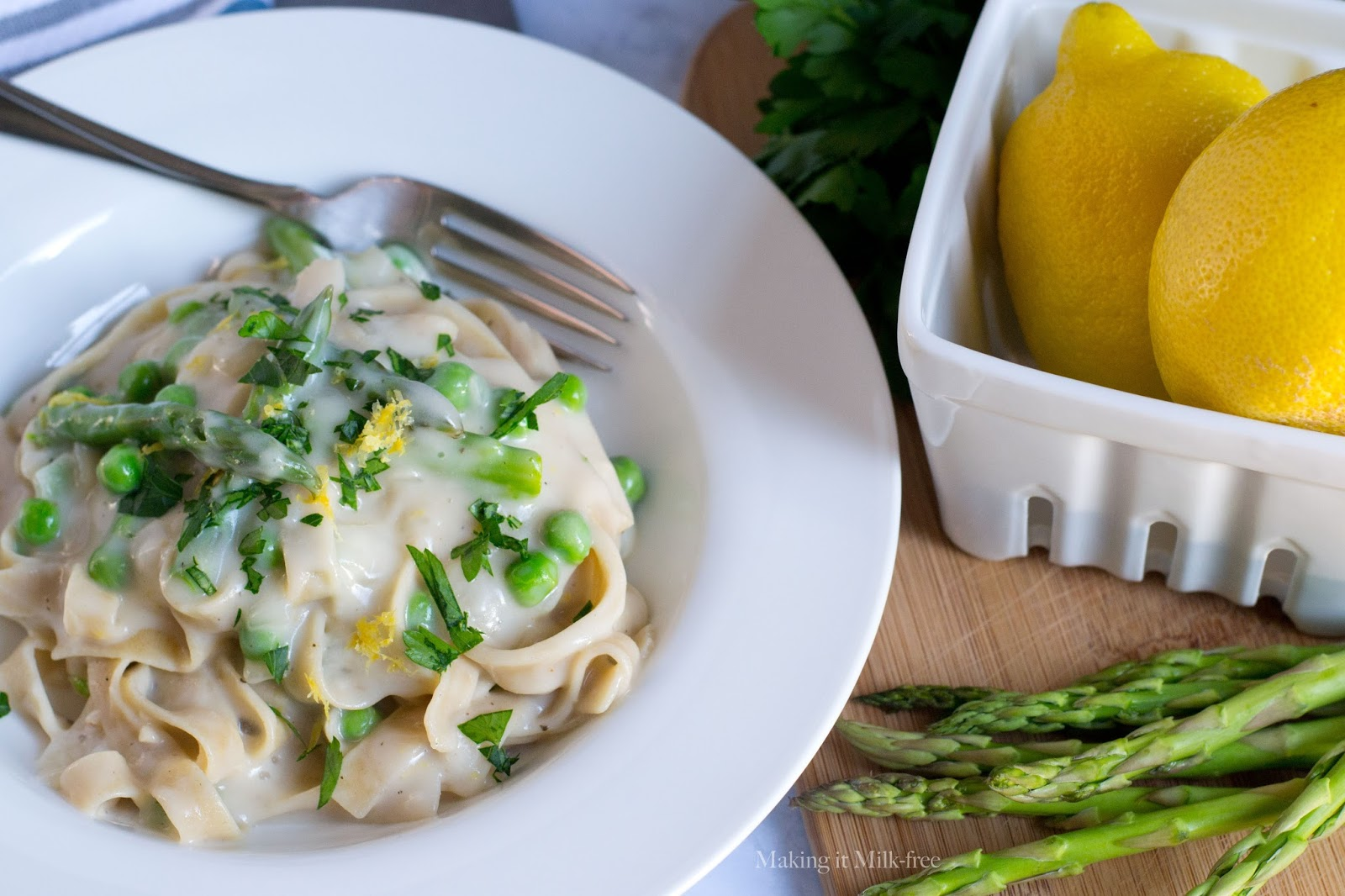 Pasta with Savory Lemon Cream Sauce from Making it Milk-free