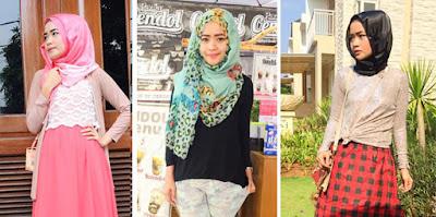 Gaya Hijab Modern Baju Brokat