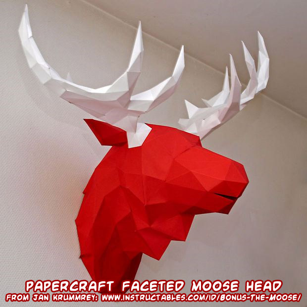 ninjatoes 39 papercraft weblog papercraft faceted moose head. Black Bedroom Furniture Sets. Home Design Ideas