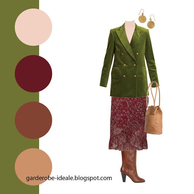 Сочетание красной юбки и зеленого жакета
