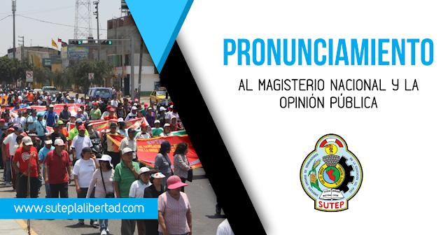 AL MAGISTERIO NACIONAL Y LA OPINIÓN PÚBLICA.