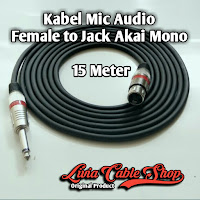 Kabel Mic XLR Audio Female To Jack Akai Mono Canon Canare 15 Meter