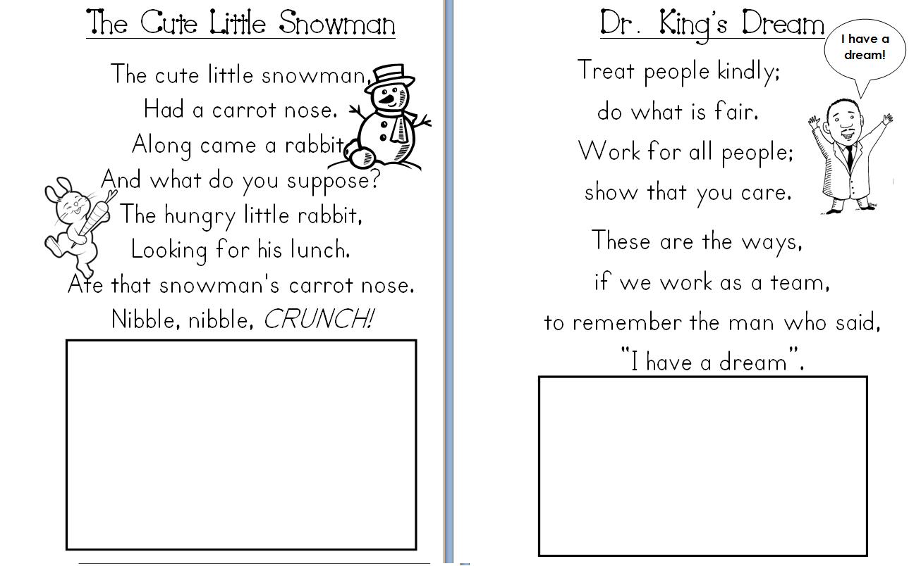 Aloha Kindergarten January Poetry Journals