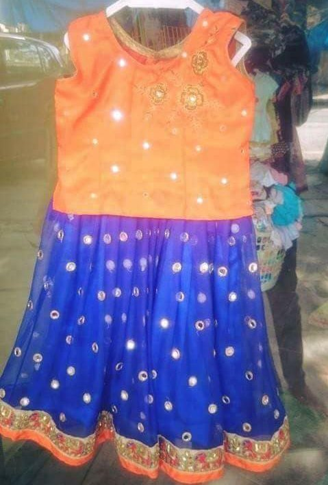 Orange Blue Glass Work Kids Lehenga