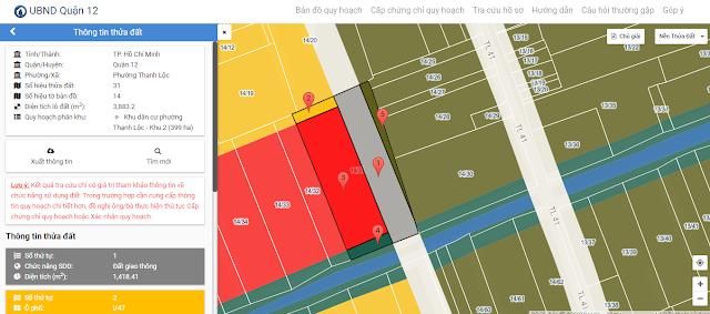 kết quả thông tin xem quy hoạch quận 12