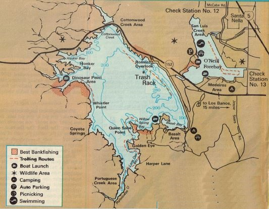 how to fish san luis reservoir and oneil forebay, fishing map california and oregon