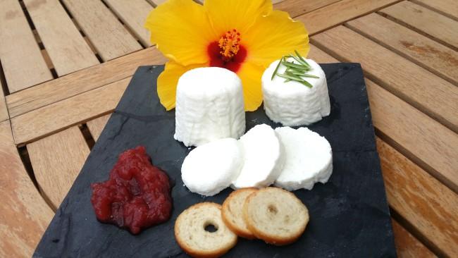 Un queso fresco pequeño acompañado de mermelada