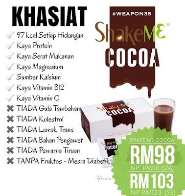 Shake Me Cocoa Murah nak Kurus COD Setiawangsa