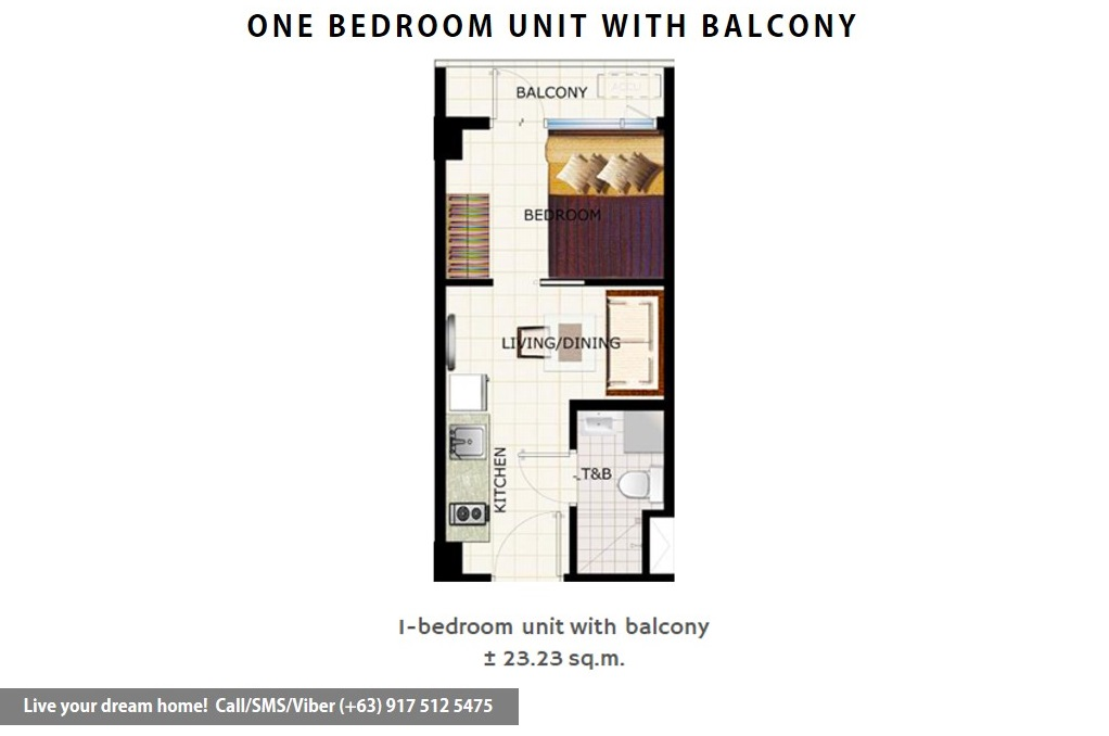 Floor Plan of SMDC Cool Suites Residences - 1 Bedroom With Balcony | Condominium for Sale Tagaytay Cavite