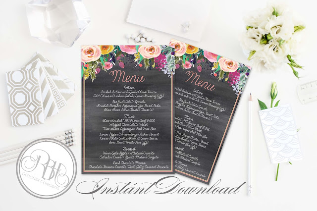 watercolour boho wedding menu program by rbhdesignerconcepts.com
