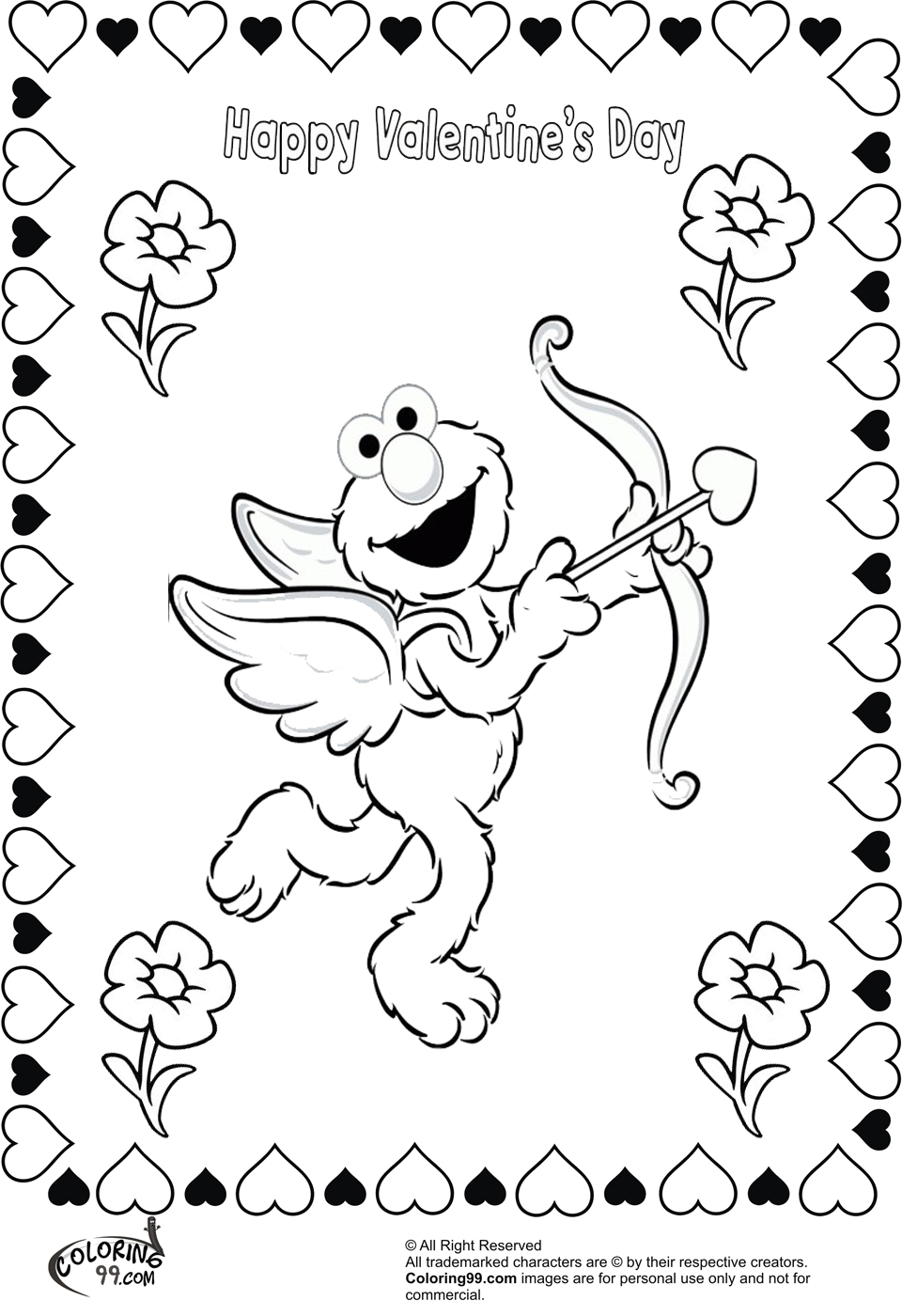 Elmo Valentine Coloring Pages Team Colors
