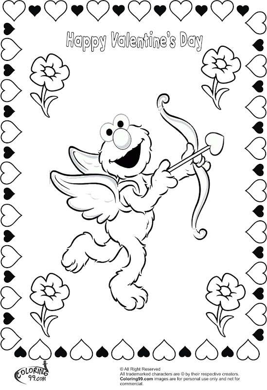 Character valentine coloring pages coloring pages for kids for Elmo valentine coloring pages