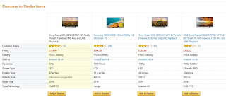 Comparison Spesification Television 32 inch 40 inch, Sony and Samsung (source Amazon)