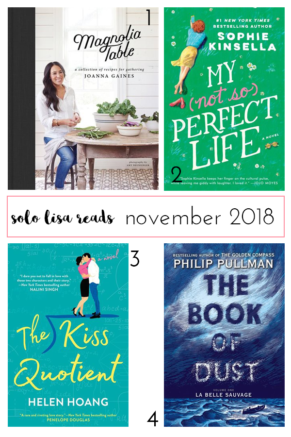 Round-up of book recommendations for November 2018 from Vancouver life and style blogger Solo Lisa, including The Kiss Quotient by Helen Hoang, My (Not So) Perfect Life by Sophie Kinsella, Magnolia Table by Joanna Gaines, and The Book of Dust by Philip Pullman