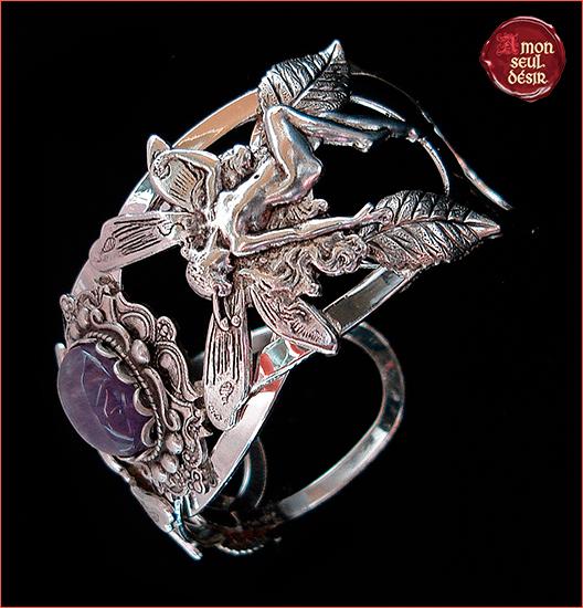 Bracelet fée féerique améthyste argent elfique fairytale bijouterie magie magic fairies jewelry fairy