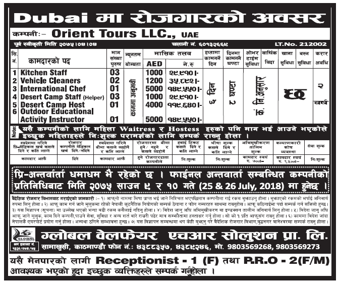 Jobs in UAE for Nepali, Salary Rs 149,550