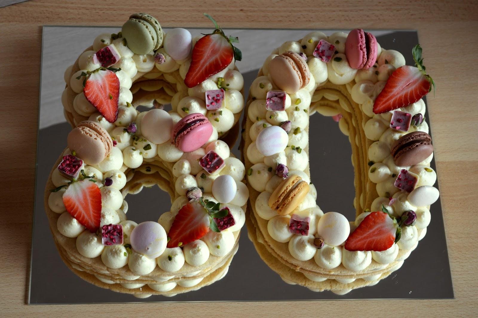 Julias Zuckersusse Kuchenwelt Zahlentorte Mit Mangofullung Zum 80