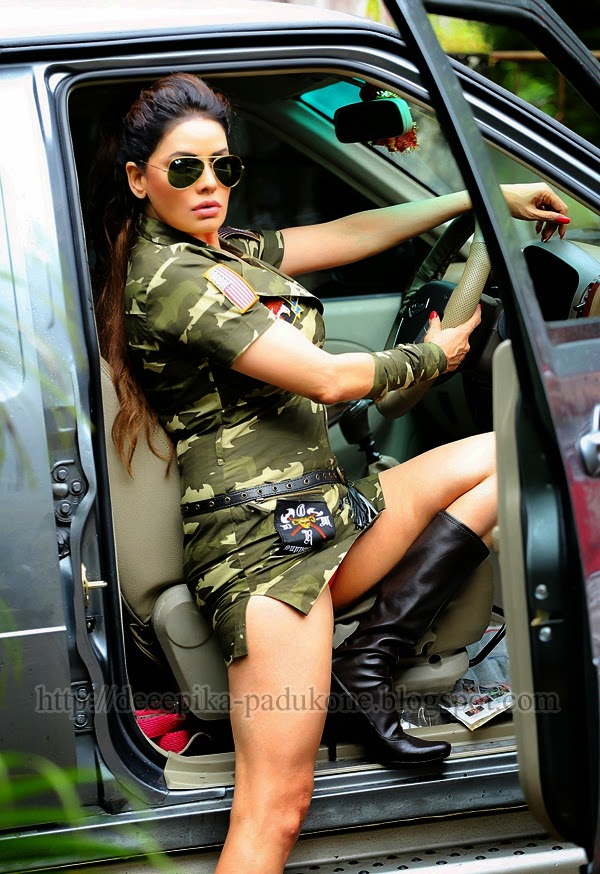 Poonam Legs Show With Long Black Boot In Army Dress