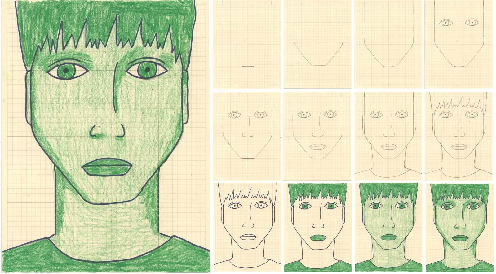 Monotone Self Portrait Drawing