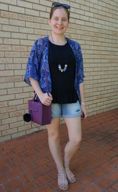 navy printed kimono, peplum tank and denim shorts with purple mini mab tote bag | awayfromblue