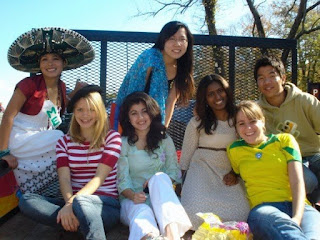 A group of international students at homecoming