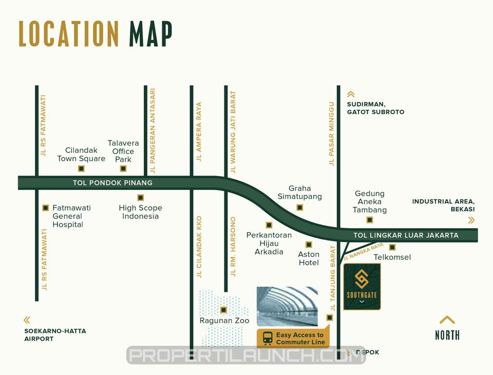 Peta Lokasi Apartemen Southgate Jakarta