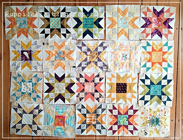 Puppilalla, Double Star Quilt Blocks, Free Quilt Block pattern, Bee Block, Quilting Bee