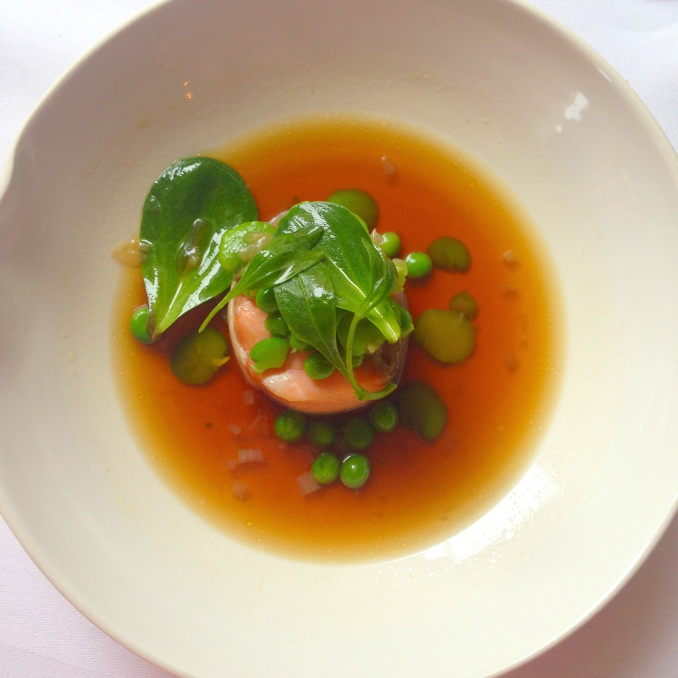 Wild Smoked Salmon, Peas, Broad Beans with a Light Liquorice Consomme