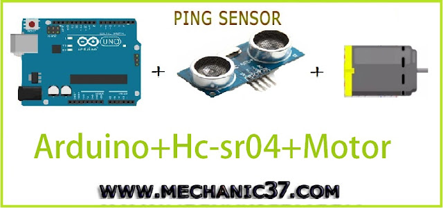dc motor को distance sensor hc-sr04 से