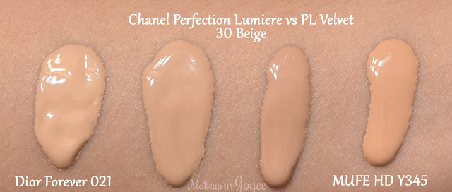 Chanel Perfection Lumiere Foundation 30 Beige MAC NC30 NC35 Swatches