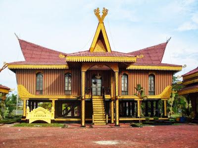 Sketsa Desain Rumah Adat Riau