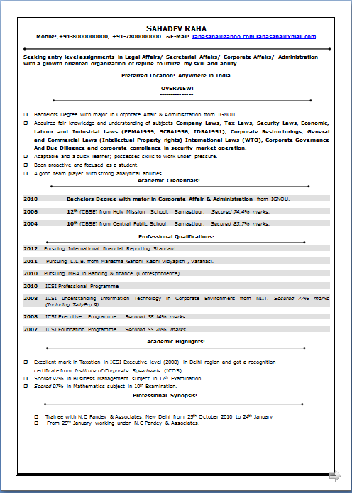 professional resume excellent resume sample of icsi professional