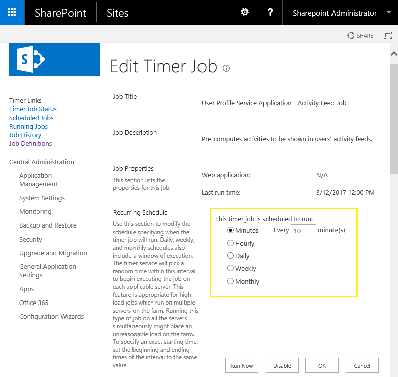 sharepoint timer job schedule powershell