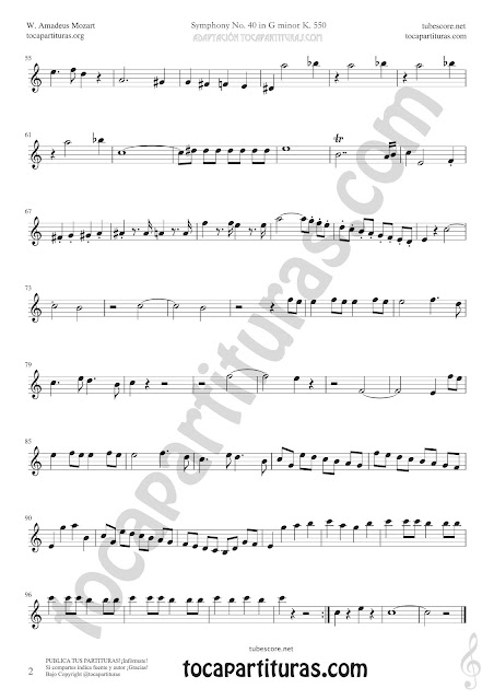 Hoja 2 Soprano Sax y Saxo Tenor Partitura de Sinfonía Nº 40 Sheet Music for Soprano Sax and Tenor Saxophone Music Scores