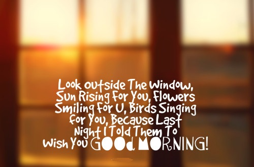 Look Outside The Window, Sun Rising For U, Flowers Smiling For U, Birds Singing For U, Because Last Night I Told Them To Wish You Good Morning..