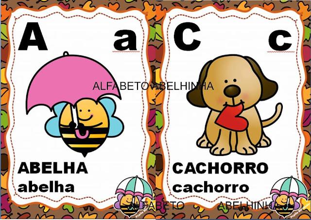 Alfabeto para Parede e Numerais Abelhinha