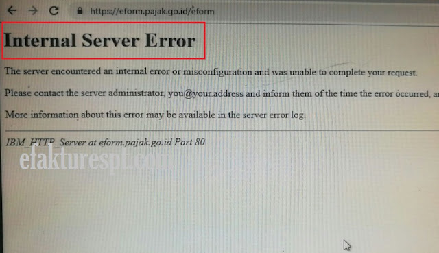 eForm Internal Server Error, DJP Online Error