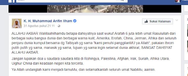Jumlah Jamaah Wukuf Versi Media: 2 Juta, Versi Ustad Arifin Ilham: 6 Juta Lebih