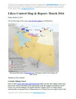 Libya control map: Shows detailed territorial control in Libya's civil war as of February 2016, including all major parties (Tobruk government, General Haftar's Operation Dignity forces, and Zintan militias; Tripoli GNC government, Libya Dawn, and Libya Shield Force; Shura Council of Benghazi Revolutionaries and other hardline Islamist groups; and the so-called Islamic State (ISIS/ISIL)). Also file under: Map of Islamic State (ISIS) control in Libya. Now includes terrain and major roads. Color blind accessible.