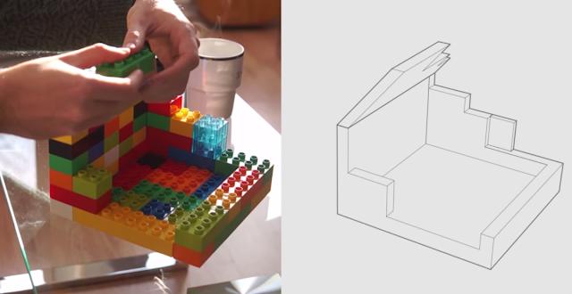 Construção de pelas tanto com blocos de montar quanto traços firmes do computador.